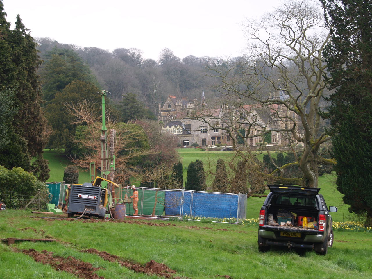 Tyntensfield House in the background as drilling under way to provide water for house, gardens and the boating lake.